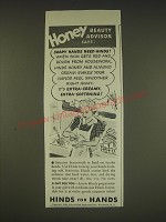 1939 Hinds Lotion Ad - Honey beauty advisor says: Soapy hands need hinds!