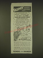 1939 Hinds Lotion Ad - Honey Beauty Advisor says: Be a housewife one minute