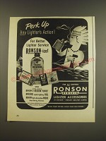 1945 Ronson Redskin Lighter Accessories Ad - Perk up any lighter's action
