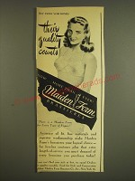 1945 Maiden Form Brassieres Ad - Their quality counts