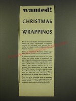 1944 Paper Shortage Ad - Wanted! Christmas Wrappings