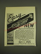 1940 Conn Connqueror Trumpet Ad - Easy new improved Conqueror