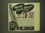 1939 Conn Clarinet Advertisement - Pee Wee Russell and Chester Hazlett