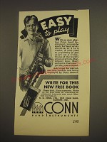 1937 Conn Saxophone Ad - Easy to play