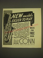 1937 Conn Saxophone Ad - New models easier to play