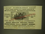 1900 Great Combination Sales Stock Yards, Kansas City Ad - Great Combination