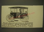 1900 Parsons' Low-Down Milk Wagons Ad - The old reliable and original Parsons'
