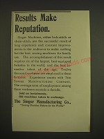 1899 Singer Sewing Machines Ad - Results make reputation