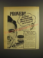 1947 Palmolive Brushless Shave Cream Ad - Proved! Smoother, more comfortable