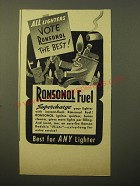 1948 Ronson Ronsonol Fuel Ad - All lighters vote Ronsonol the best