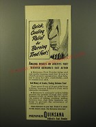 1949 Mennen Quinsana Athlete's Foot Powder Ad - Quick, Cooling relief