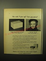 1950 Modess Pads Ad - She said, I give up! Can you guess?