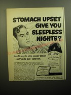 1950 Phillips' Milk of Magnesia Ad - Stomach upset give you sleepless nights?