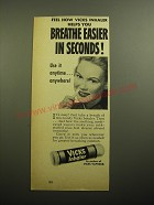 1950 Vicks Inhaler Ad - Feel how Vicks inhaler helps you breathe easier