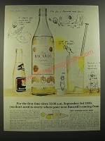 1964 Bacardi Rum Ad - For the first time since 11:00 a.m. September 3rd 1939