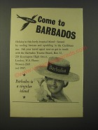1964 Barbados Tourist Board Ad - Come to Barbados