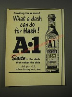1950 A.1. Sauce Ad - Cooking for a man? What a dash can do for hash!