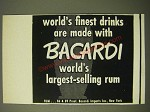 1950 Bacardi Rum Ad - World's finest drinks are made with Bacardi