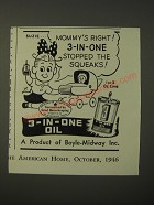 1946 3-In-One Oil Ad - Mommy's right! 3-in-one stopped the squeaks