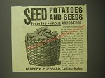 1887 George W.P. Jerrard Seed Potatoes Ad - Seed Potatoes and Seeds