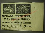 1887 Wood, Taber & Morse Steam Engines Ad - Steam Engines, Portable