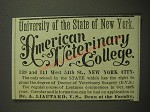 1887 University of the State of New York American Veterinary College Advertisement