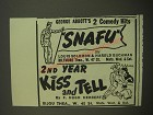 1944 Snafu and Kiss and Tell Plays Advertisement - George Abbott's 2 Comedy Hits