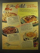1945 Karo Syrup Ad - recipes for Fruit Meringue Cookies, Glaze for Fruit Cake