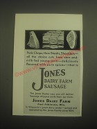 1931 Jones Dairy Farm Sausage Ad - Pork Chops, Ham Steaks, Shoulders