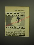1959 A Raisin in the Sun Play Ad - Best Play Sidney Poitier