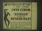 1959 Redhead Play Ad - Gwen Verdon - Best musical of the year! 6 Tony Awards