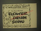 1959 Flower Drum Song Play Ad - A Walloping hit