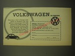1958 Volkswagen Cars Ad - Volkswagen in Europe