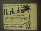 1958 Barbados Publicity Committee Ad - Year 'round vacation isle