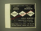 1950 Kiss Me Kate Musical Ad - Saint Subber & Lemuel Ayers present Alfred Drake
