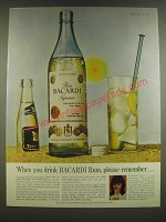 1965 Bacardi Rum Ad - When you drink Bacardi Rum, please remember