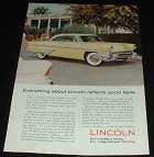 1955 Lincoln Ad, Reflects Good Taste, NICE!!!