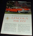 1957 Red Lincoln Car Ad, Dramatically New!!!