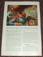 1947 Travelers Insurance Ad, Room a Chamber of Horrors!