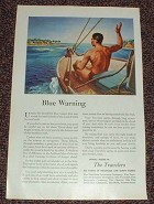1946 Travelers Insurance Ad - Blue Warning NICE!!