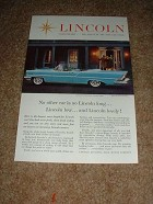 1957 Lincoln Premiere Convertible Ad, Long Low & Lovely