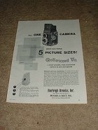 1958 Rollei Rolleicord Va Camera Ad, 5 Picture Sizes!!