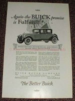 1925 Buick Car Ad - Again the Buick Promise Fulfilled!