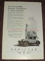 1925 Cadillac Eight Car Ad, Emerges Triumphant!!