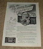 1957 Zeiss Contaflex Camera Ad, NICE!!!