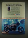 1989 Suzuki GS500E Motorcycle Ad - Simply Irresistible!