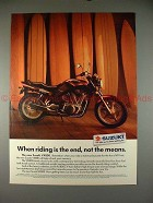 1990 Suzuki VX800 Motorcycle Ad, Riding is the End!!