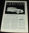 1931 Chrysler Straight Eight Deluxe Sedan Ad!