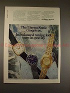 1970 Eterna-Sonic Watch Ad, Tuning Fork Outwit Gravity!