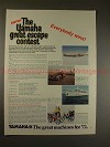 1972 Yamaha Motorcycle Ad - Grand Escape Contest, NICE!
